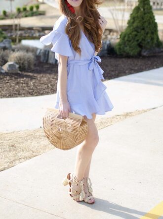 dress red hair tumblr mini dress blue dress wrap dress ruffle bag basket bag sandals sandal heels high heel sandals lace up sandals spring date night outfit