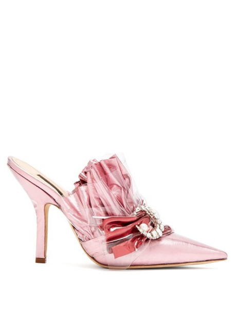 Midnight 00 - Ruched Satin Point Toe Mules - Womens - Light Pink