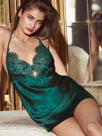 underwear lingerie sexy lingerie emerald green taylor hill model victoria's secret camisole