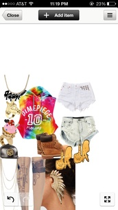 shirt,tie dye,cutoff hoodie,hoodie,shorts,shoes,jewels,underwear,hat,sweater