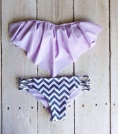 swimwear,bikini,summer,chevron,ruffle bandeau bikini,purple swimwear,purple bikini,purple,cheveron,fringe bikini,fringes,lavender,chevron bikini cute purple bandeau,zig zag print,bandeau bikini,black,stripes,ruffled bikini,ruffle trim bikini,lilac,swimwear two piece
