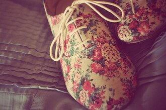 shoes flowers floral oxfords
