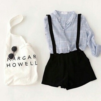 shorts suspenders black