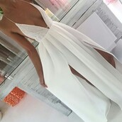 dress,summer dress,white dress,v neck dress,long dress,slit dress,maxi,white,lace,v neck,backless,spagetti staps dresses,slits in sides,cute,fancy,summer,ladylike,elegant,trending  now,prom,beautiful,hot,white maxi dress,white long dress,style,maxi sexy white dress,maxi dress,sexy dress,formal dress,prom dress,wedding dress,white lace dress