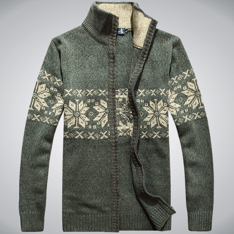 2013 autumn and winter qau Men loose wool cardigan pattern turtleneck sweater thickening-inCardigans from Apparel & Accessories on Aliexpress.com