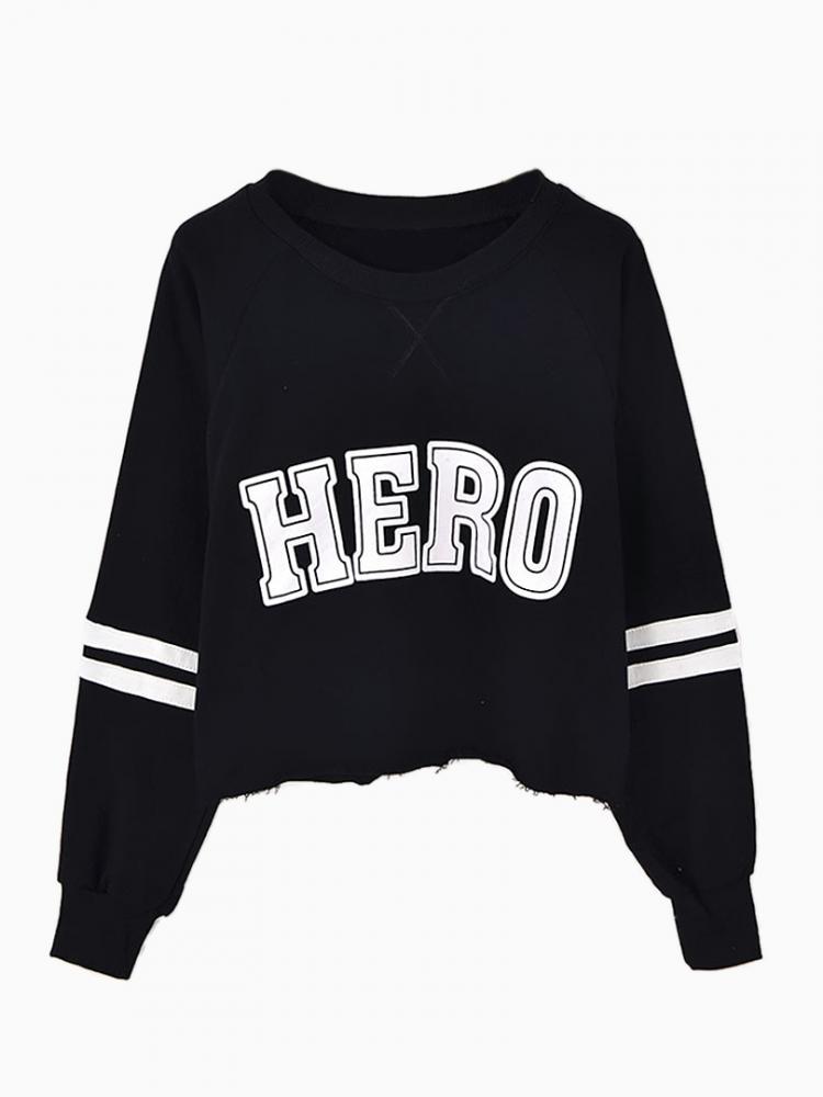 Black Crop Sweatshirt In Hero Print | Choies