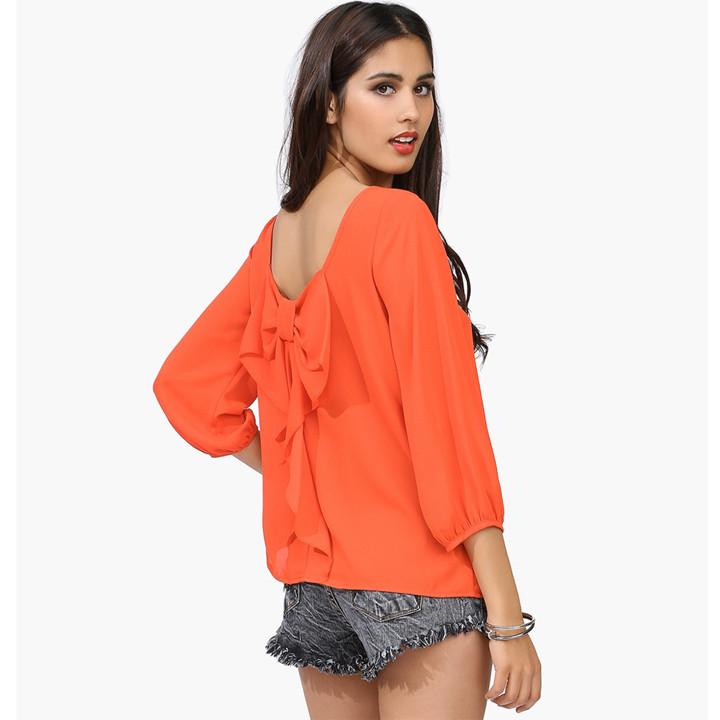 Orange Back Bow Blouse