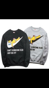 sweater,nike,the simpsons,homer simpson,nike sweater,funny,oversized sweater,just do it,donut,sweatshirt,workout,top,black,meme,memes,bart simpson,quote on it,tumblr