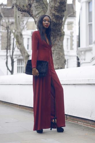 bisous natascha blogger red dress long dress pouch black heels long sleeve dress winter dress