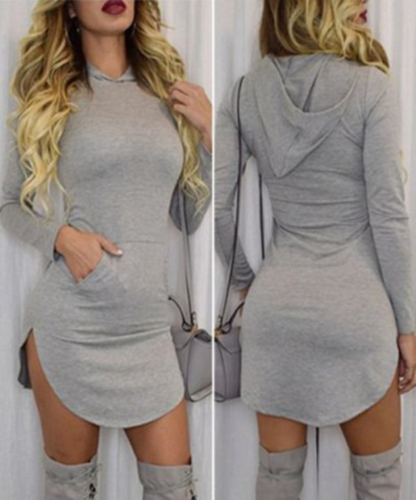 Women Winter Long Sleeve Pullover Hooded Dress