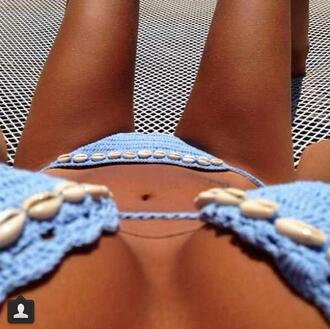 swimwear blue summer beach sea beaded hot nice beautiful hottest