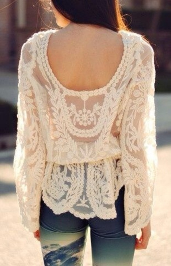 blouse cream lace blouse low back