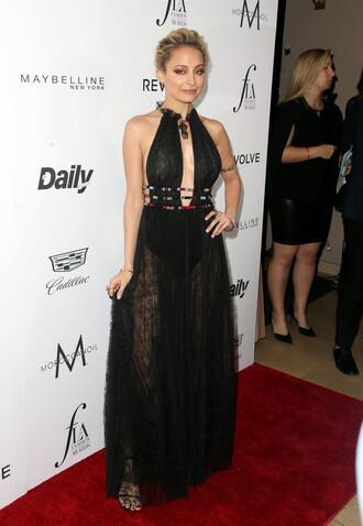 dress gown prom dress backless backless dress nicole richie long dress black dress necklace plunge dress jewels
