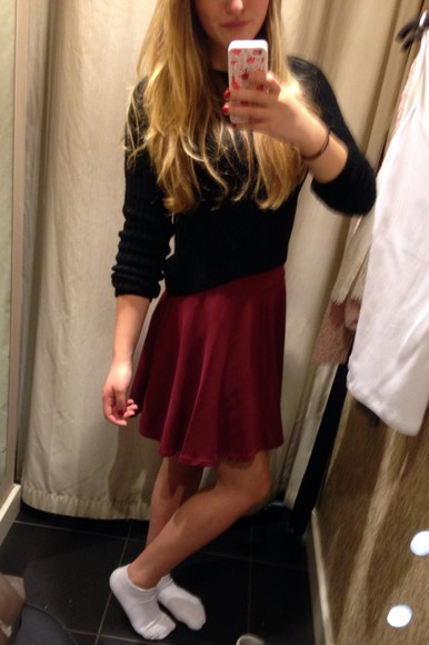 sweater cute pullover skirt red dress new look skirt red