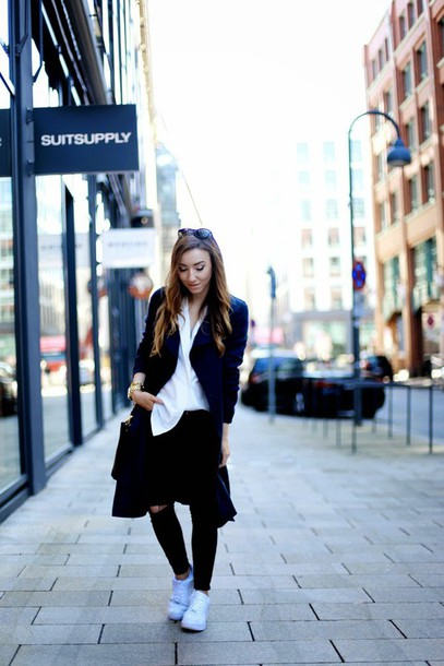 flirting with fashion blogger coat blouse black ripped jeans