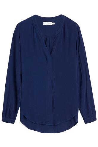 blouse v neck blue top