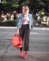 shoes,tumblr,boots,red boots,ankle boots,pants,culottes,stripes,striped pants,jacket,denim jacket,deninm,bag,red bag
