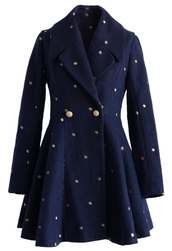 coat,polka dots navy wool-blend coat,chicwish,navy