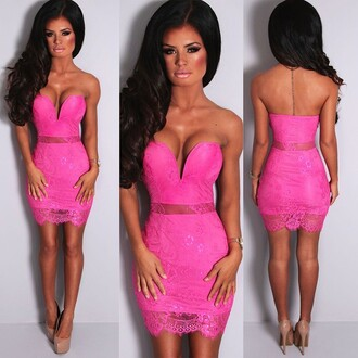 dress pink boutique hot pink lace mini dress mini denim skirt