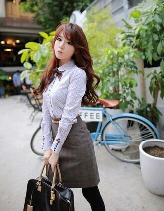 blouse polka dots skirt korean fashion cute bows classy