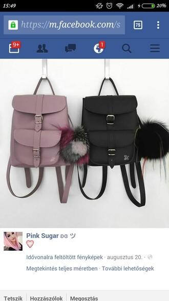 bag backpack pink black leather retro vintage