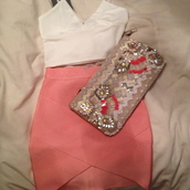 skirt,white crop tops,coral skirt,riverisland,bandage skirt,miss guided,clutch