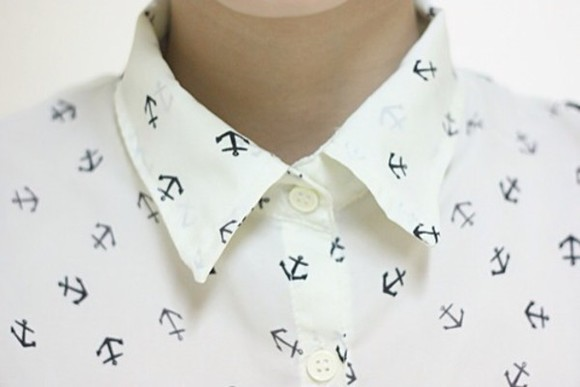 anchor print blouse anchor cute white shirt white hipster