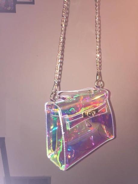 bag purse chrome reflective girly girl