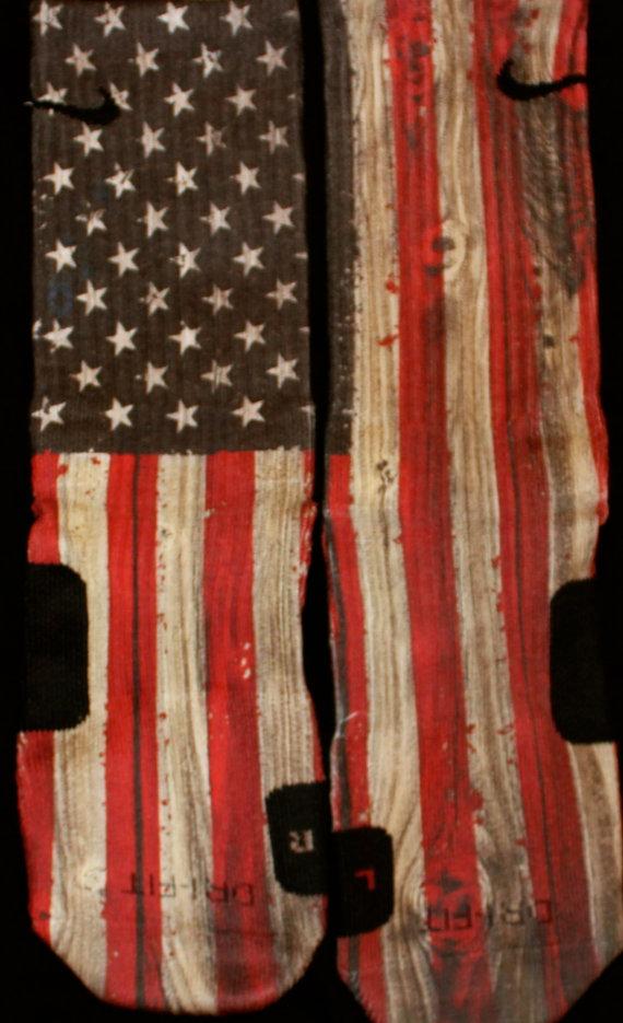 Old glory usa flag custom nike elites vintage by thesickestsocks