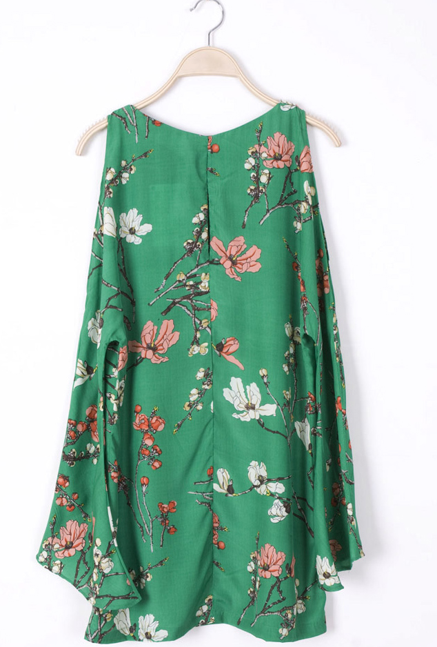 Green Cut Out Bell Sleeve Flowers Print Dress - Sheinside.com