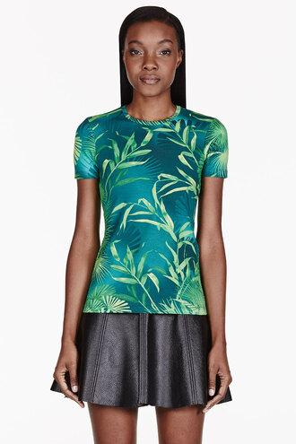 leaf shirt clothes women green print