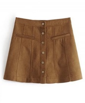 skirt,girly,brown,suede,suede skirt,button up,button up skirt