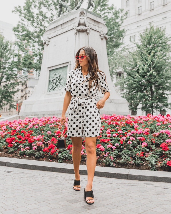 romper polka dots polka dots romper black and white shoes