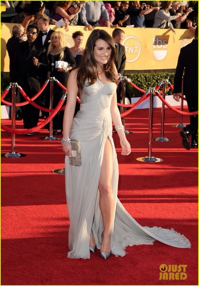 dress glee lea michele grey gown grey dress gray dress silver dress sag awards silver prom dress