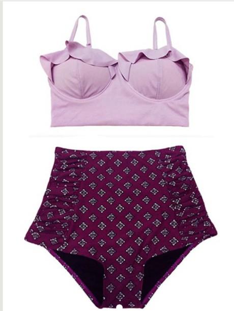 swimwear lavender bikini high waisted bikini