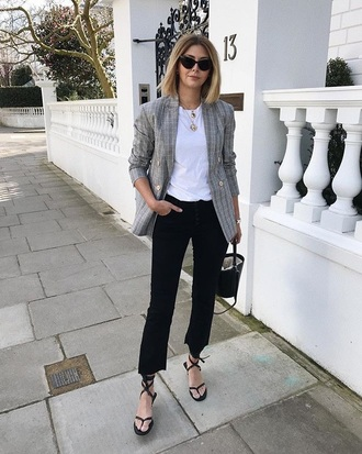 shoes flat sandals black sandals pants black pants cropped pants blazer grey blazer sandals t-shirt white t-shirt