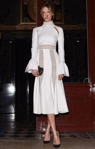 midi dress white dress karlie kloss paris fashion week 2016 fashion week 2016 model off-duty