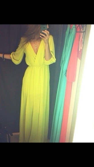 wrap dress goddess long dress maxi dress prom prom dresses prom dress long prom dress v neck deep v neck dress bright neon summer summer dress clothes chic cute cute dress sheer thin runway