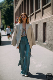 jacket,blazer,beige blazer,top,shirt,pants,shoes,sunglasses