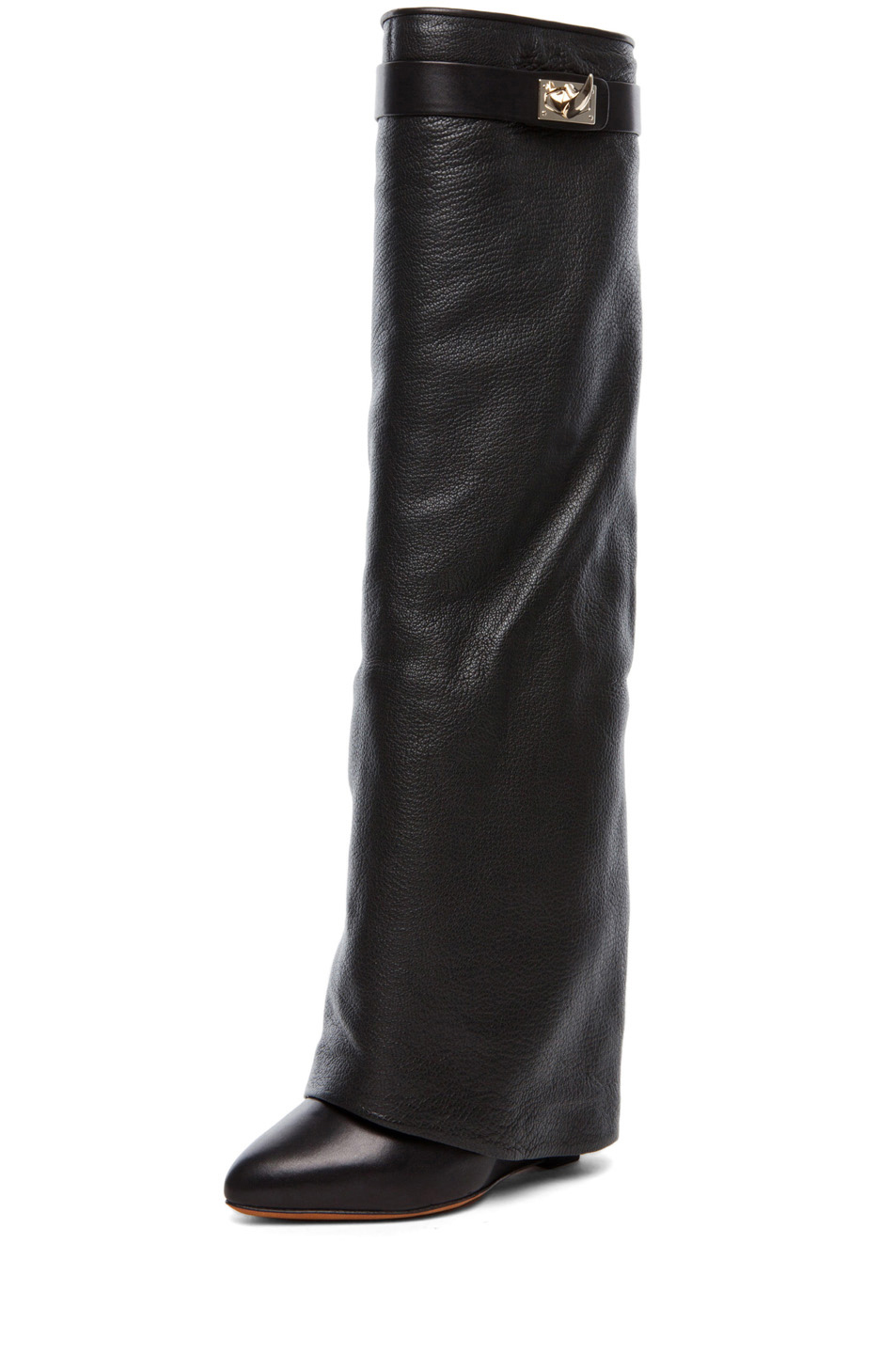 GIVENCHY Shark Lock Fold Over Wedge Boots in Black in Black | FWRD