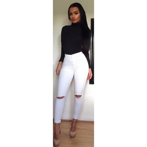Keisa White Knee Ripped Skinny Jeans - from The Fashion Bible UK