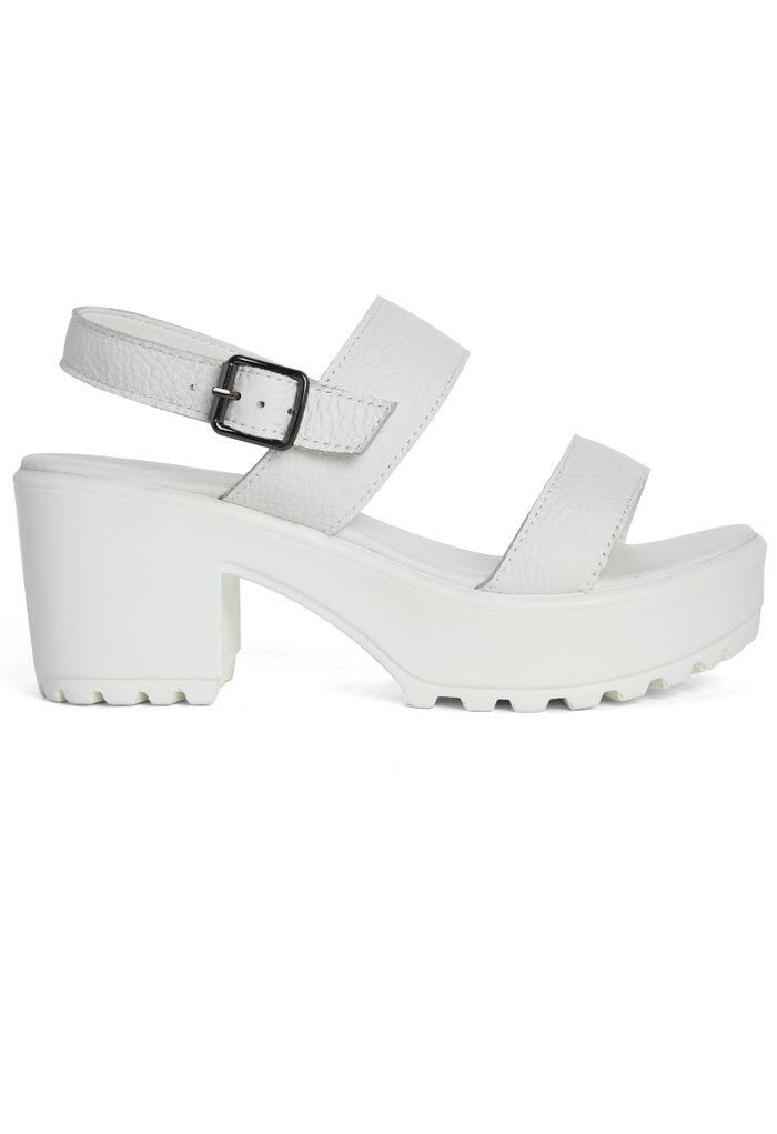 Ankle Strap Block-heel Leather Sandals in White - Retro, Indie and Unique Fashion