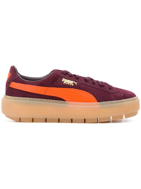 puma women sneakers leather suede purple pink shoes