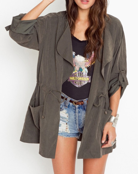 coat trench coat jacket gray coat hooded indie vintage grunge alternative army green jacket
