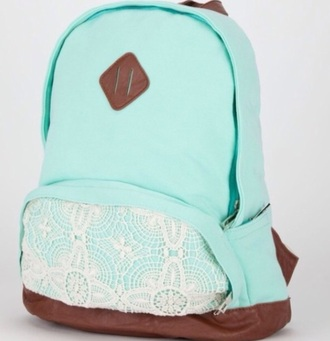 bag white lace mint leather