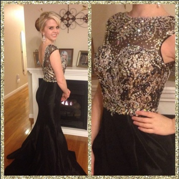 Dress Black Dress Black Sparkle Prom Dress Prom Long Dress