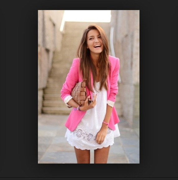 jacket pink jacket cute girly tumblr fashion dress summer dress summer outfits white white dress white lace dress lace dress summer jack daniel colorful tank cute dress cute outfits tumblr girl outfits clothes
