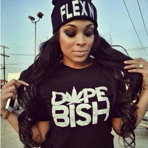 t-shirt black black top dope shirt black,dope bish,swag,shirt hat flexin,beanie,hat,black