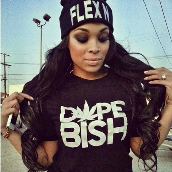 black dope bish swag urban shirt hat flexin t-shirt black t-shirt dope black top
