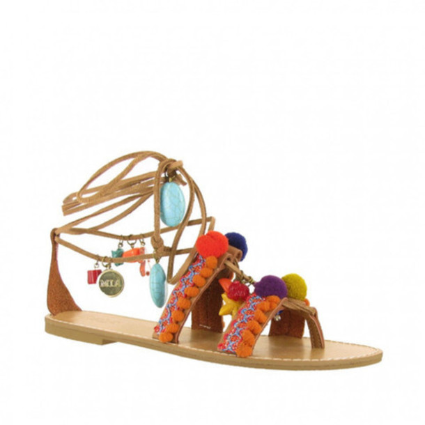 shoes lace up natural pom pom sandals mia shoes strappy flats